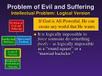 problem of evil and suffering intellectual problem logical version4