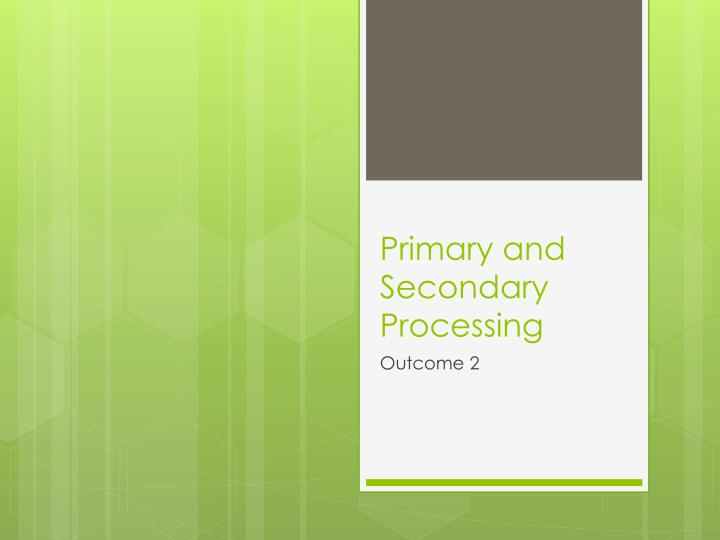 primary and secondary processing n.