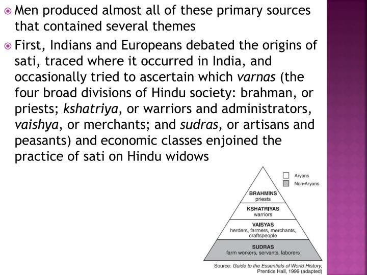 Men produced almost all of these primary sources that contained several themes