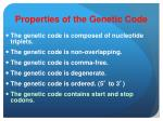 properties of the genetic code5