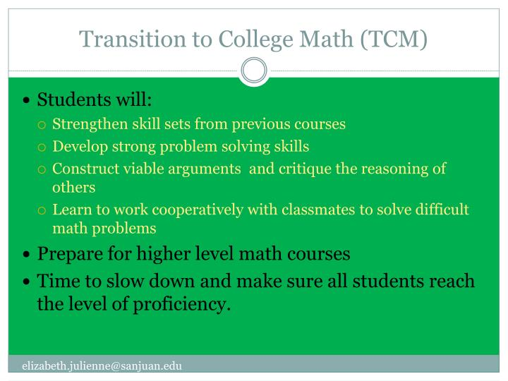 PPT - Transition to College Math PowerPoint Presentation - ID2079928