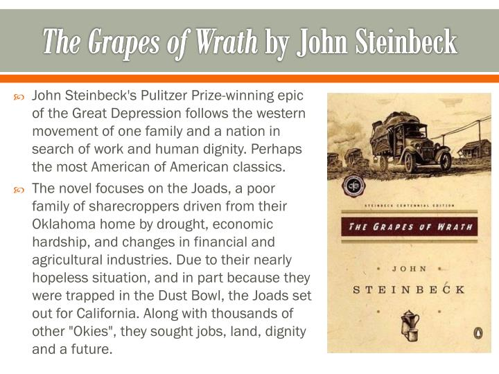an examination of the migration f the joad family in the novel the grapes of wrath by john steinbeck The harvest gypsies gives us an eyewitness account of the horrendous dust bowl migration and provides the factual foundation for steinbeck's masterpiece, the grapes of wrath included are twenty-two photographs by dorothea lange and others, many of which accompanied steinbeck's original articles.