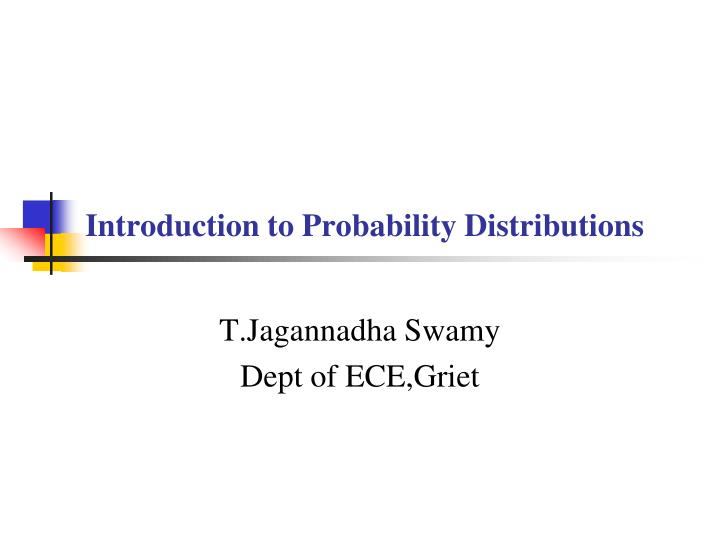 introduction to probability distributions n.