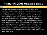 helpful thoughts from ken bailey