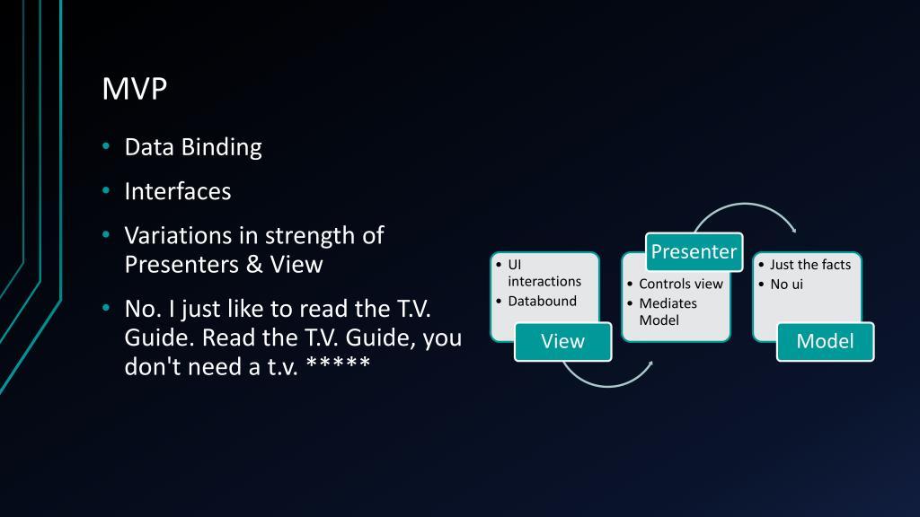 PPT - MVC vs MVP vs MVVM PowerPoint Presentation, free download - ID:2080007