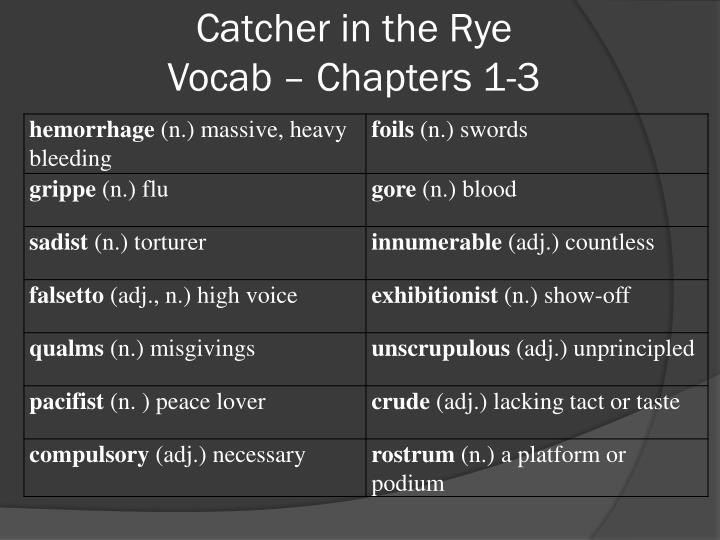 catcher in the rye vocab chapters 1 3 n.