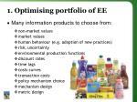 1 optimising portfolio of ee