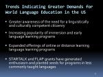 trends indicating greater demands for world language education in the us