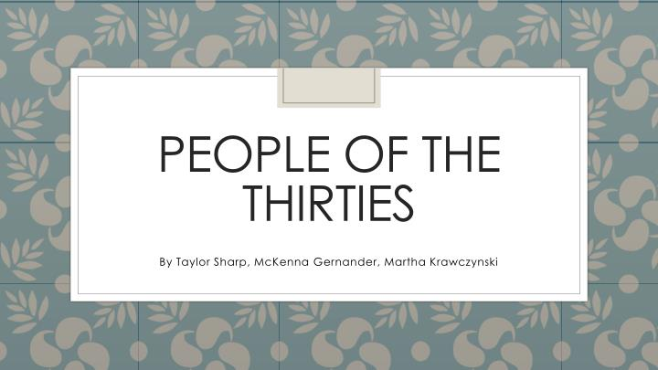 people of the thirties n.