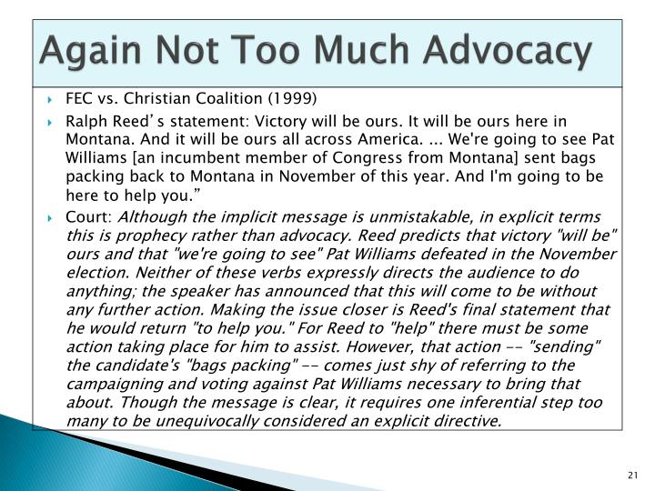 Again Not Too Much Advocacy