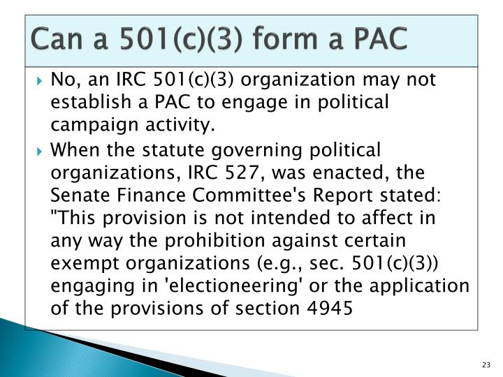 Can a 501(c)(3) form a PAC