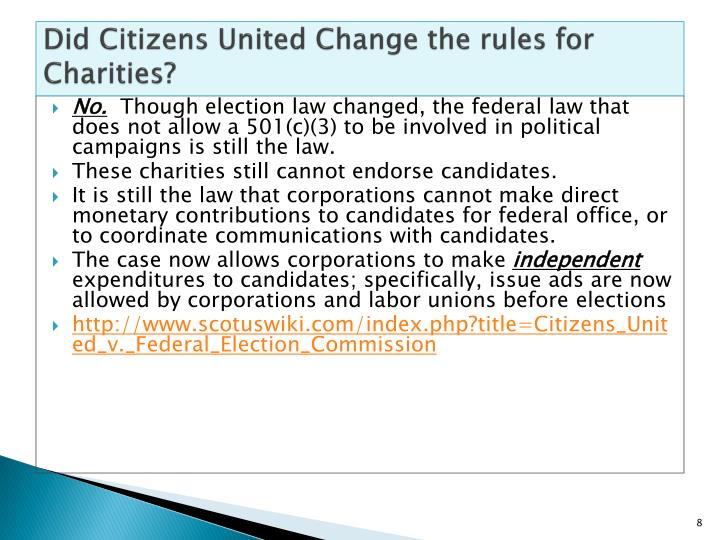 Did Citizens United Change the rules for Charities?