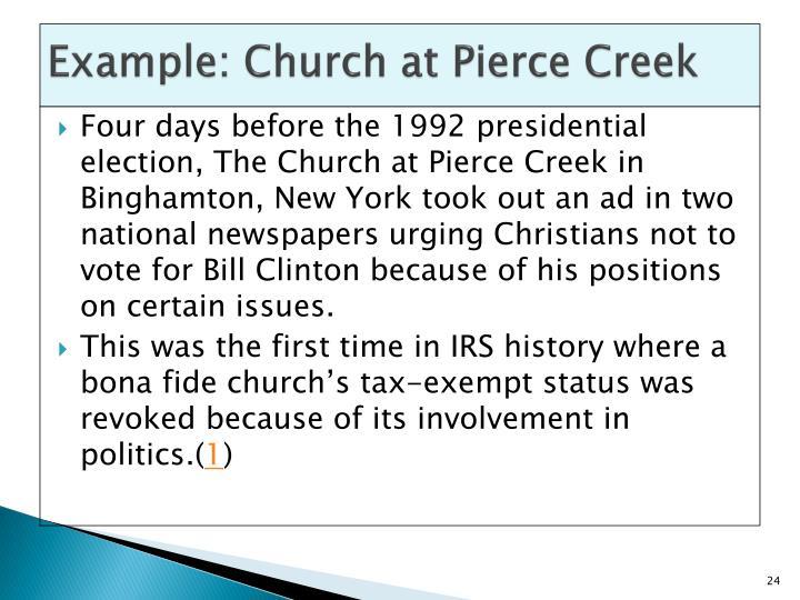 Example: Church at Pierce Creek