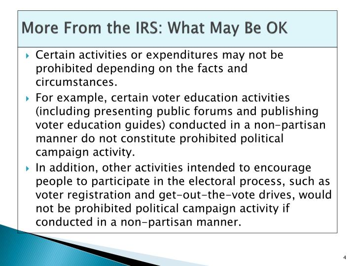 More From the IRS: What May Be OK