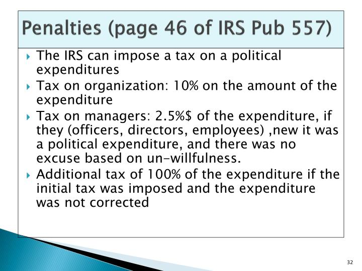 Penalties (page 46 of IRS Pub 557)