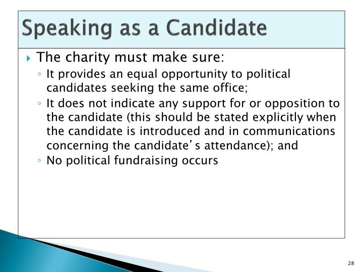 Speaking as a Candidate