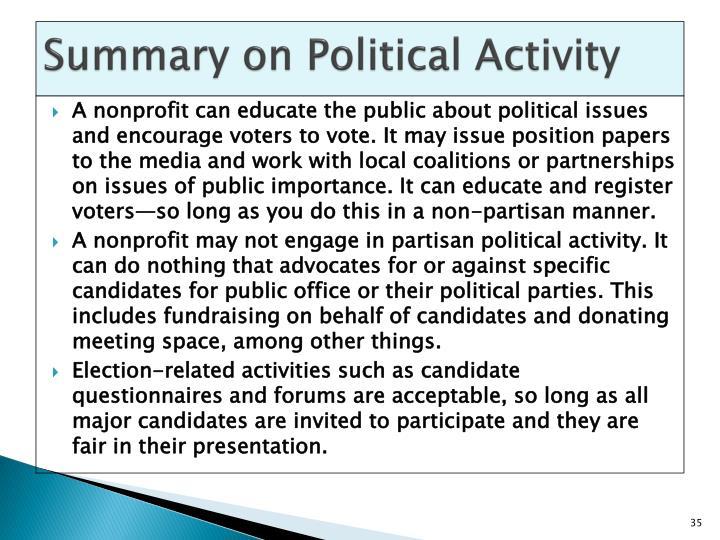 Summary on Political Activity