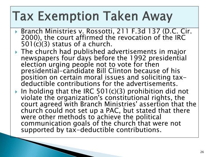 Tax Exemption Taken Away