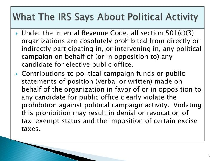 What the irs says about political activity