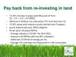 pay back from re investing in land