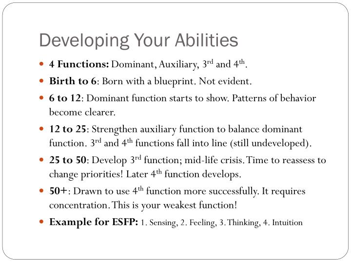 Developing Your Abilities