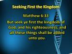 seeking first the kingdom