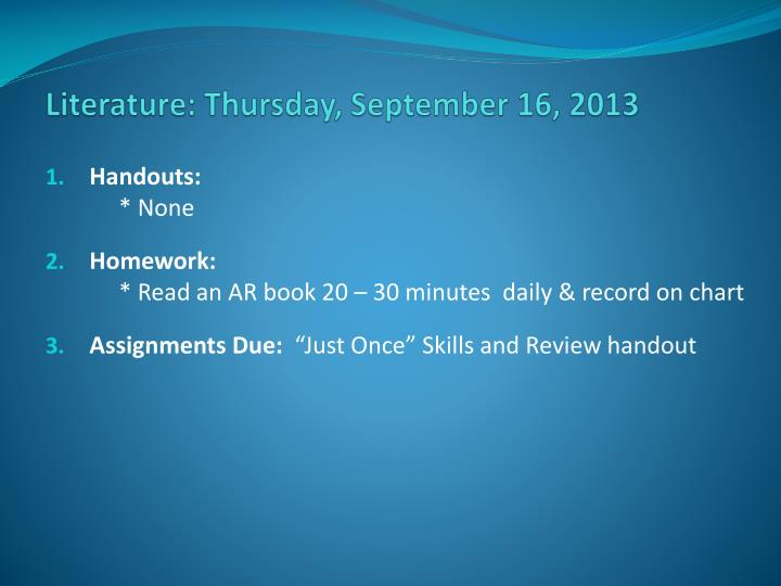 literature thursday september 16 2013 n.