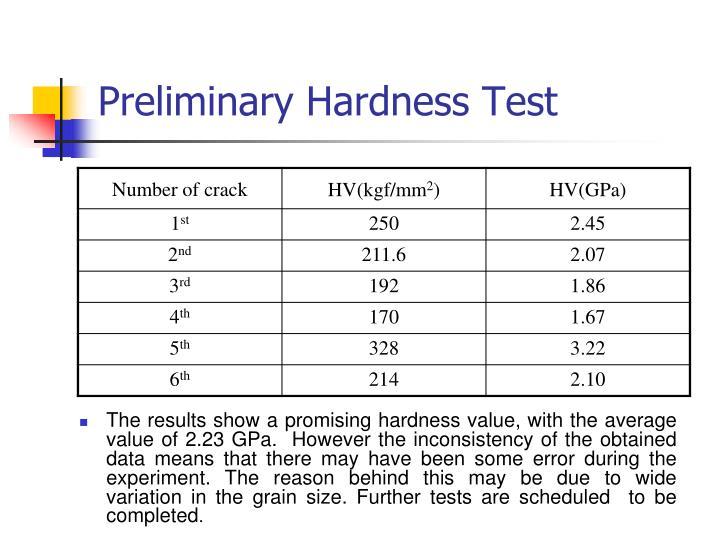 Preliminary Hardness Test