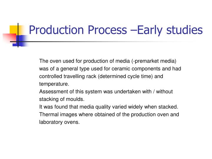Production Process –Early studies