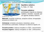for antes radiativas clim ticas