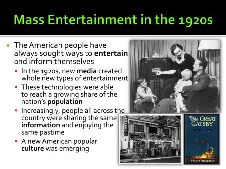 mass entertainment in the 1920s n.