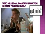 who killed alexander hamilton in that famous duel