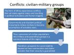 conflicts civilian military groups