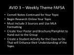 avid 3 weekly theme fafsa