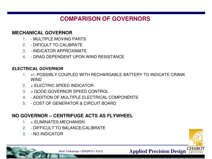 COMPARISON OF GOVERNORS