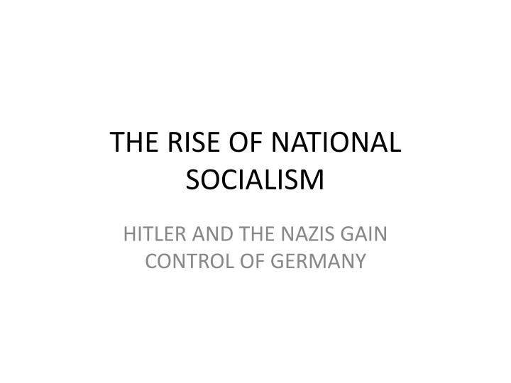 the rise of national socialism n.