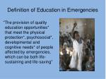 definition of education in emergencies