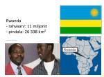rwanda rahvaarv 11 miljonit pindala 26 338 km http www facebook com paul rusesabagina 1