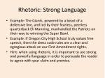 rhetoric strong language