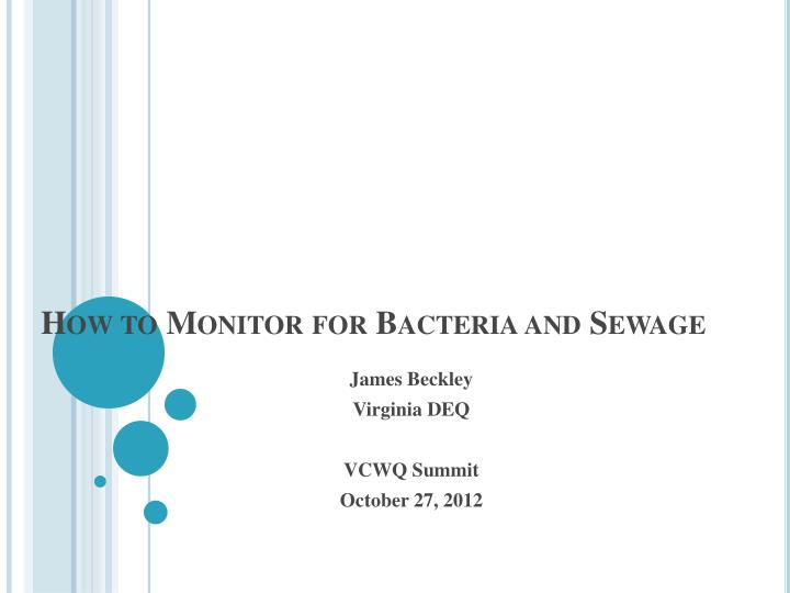 how to monitor for bacteria and sewage n.