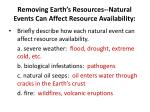 removing earth s resources natural events can affect resource availability1