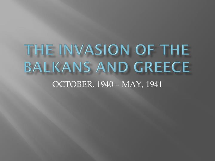 the invasion of the balkans and greece n.