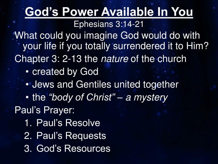 god s power available in you ephesians 3 14 21 n.