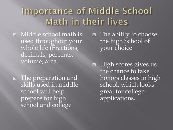 Importance of Middle School Math in their lives