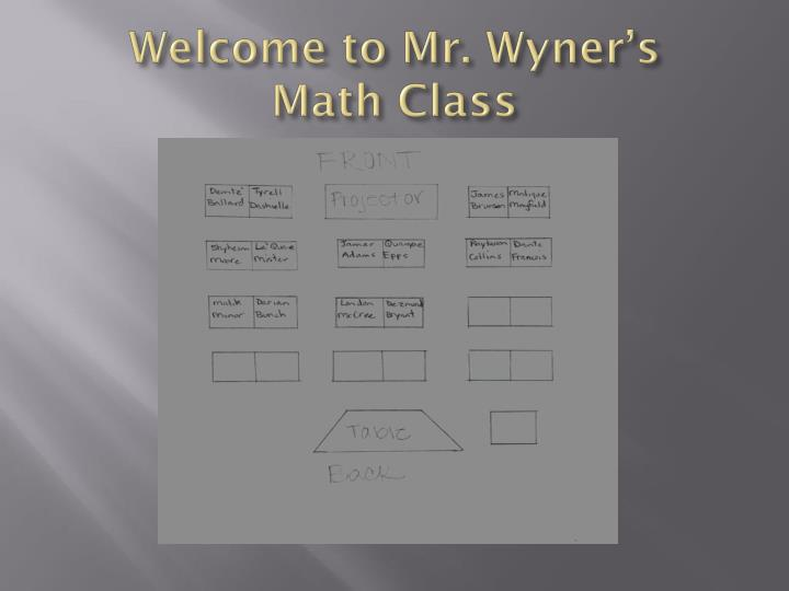 Welcome to mr wyner s math class1
