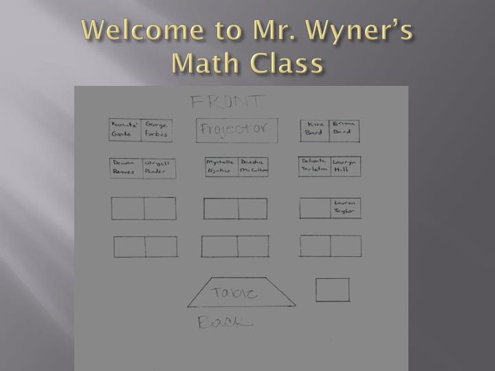 Welcome to mr wyner s math class2