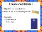 disappearing dialogue