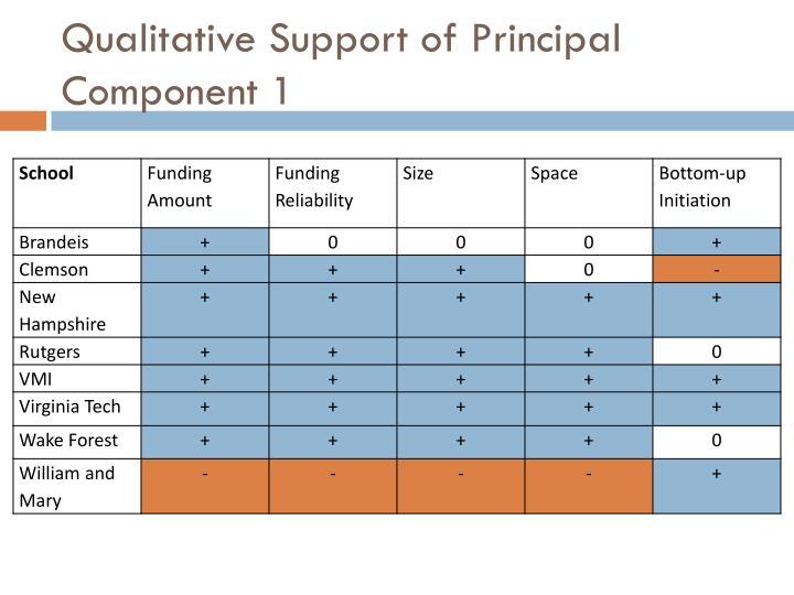 Qualitative Support of Principal Component 1