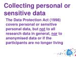 collecting personal or sensitive data