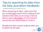 tips for searching for data from the data journalism handbook
